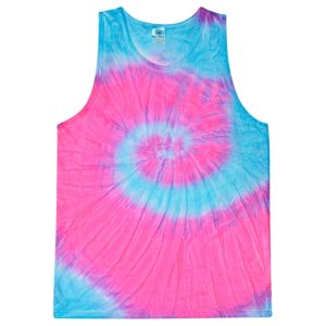 Unisex Tie-Dye Tank Top-Florescent Blue & Pink